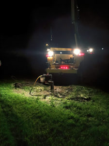 Schaefer Well Co repairing a water system at night